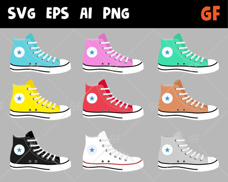 Vector DeEtsy Clipart Converse Chaussures dxBoQerWC