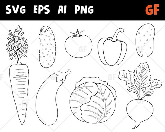 Vegetables Stamps Vegetables Clipart Outline Vegetables Etsy