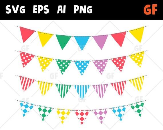 Girlande Banner Clipart Svg Girlande Wimpelkette Vektor Etsy