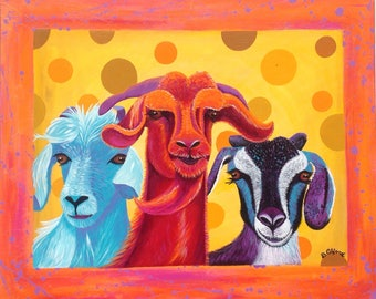 Painting Of Goats Etsy