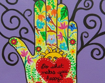 "Heart in Hand Inspirational Painting, Do What Makes You Happy Original Acrylic Painting, 8"" x 10"""