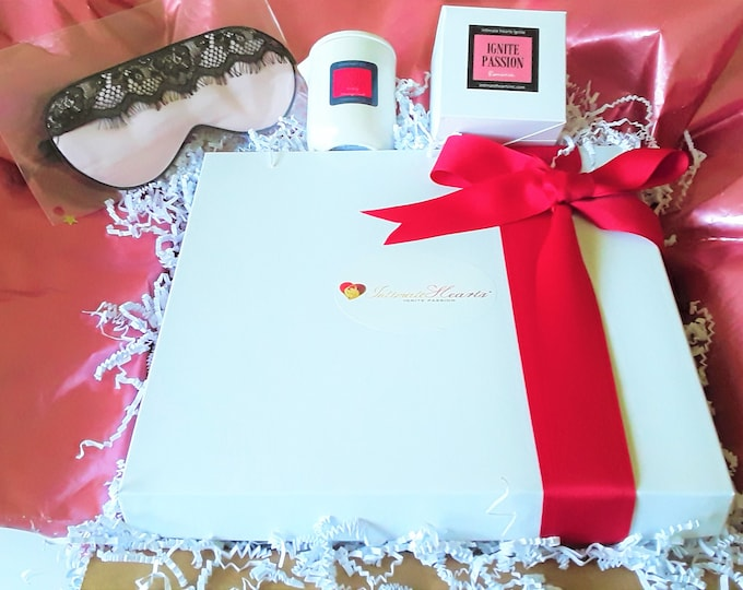 Featured listing image: Anniversary gift for her -  Intimate Heart mattress protector, sensual massage candle, sensual scent soy candle, silk sleep mask