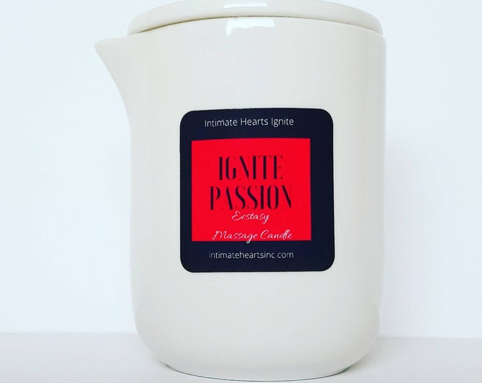 Featured listing image: Ignite Passion, massage oil candle, body oil, body butter, balm, bath oil, romantic gift, Aromatherapy essential oils 7 OZ.