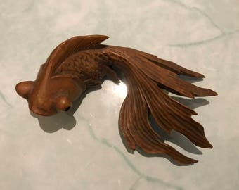 Treen Art Black Moor Goldfish Stunning piece of vintage one piece carving Lovely Detail