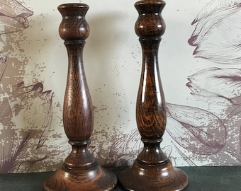 English Oak Candlesticks 1930s Eight inches Tall. Lovely Graining and Patina