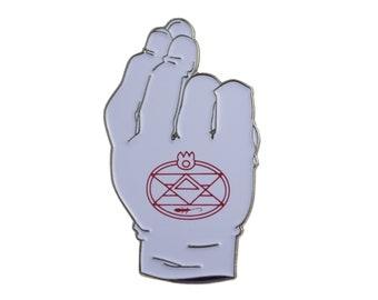 Roy Mustang Flame Glove - FMA Soft Enamel Pinbage  - Full Metal Alchemist