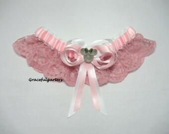 Handmade Mouse lace keepsake or toss bridal Wedding Garter fairy tale garter themed garter