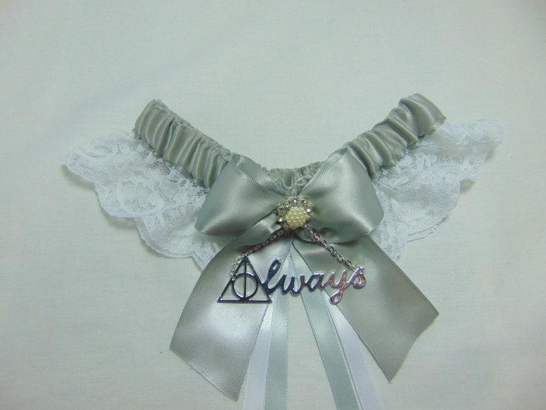 Always Handmade WizardMagic house inspired Lace themed keepsake Bridal Wedding Garter SatinLace