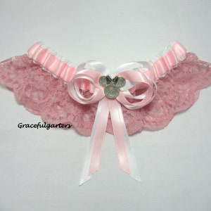fairy tale garter.SatinLace Handmade stripe pink Mouse lace keepsake bridal wedding garter themed garter