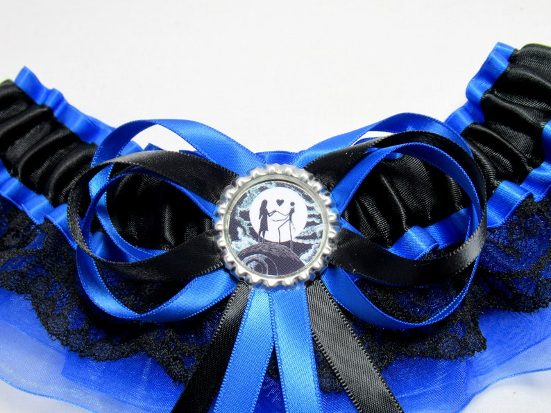 Satinorganzalace nightmare halloween garter Handmade Organza /& Lace Trimmed Jack sally keepsake Bridal Wedding Garterset