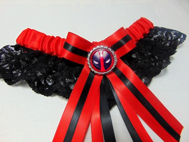 SatinLace Handmade Dead pool  lace keepsake bridal wedding Garter comic con garter