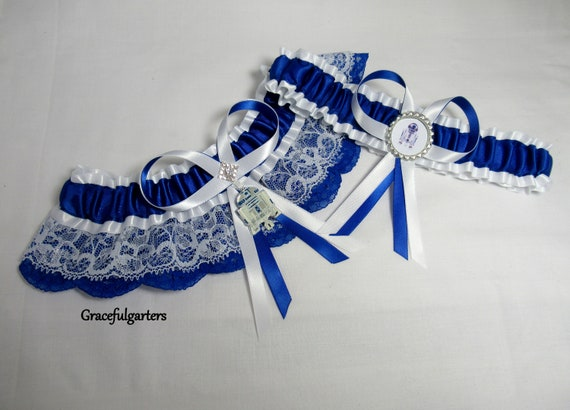 1 Blue and Black Handmade Garter Wedding Hen Night Fancy Dress