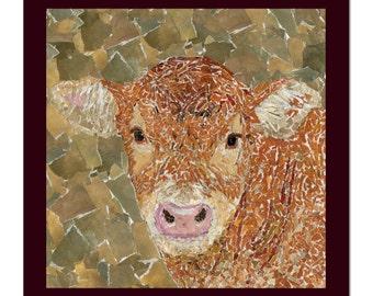 Hereford Calf Card, Farmers Card, Hereford Cow, Calf Card, Hereford Greetings Card, Farming Card