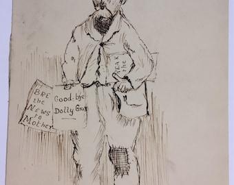 "Antique signed original pen and ink portrait of a man ""A Scene in Market St"""