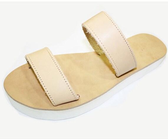 Sandals White Handmade Platform with Greek 7BP4Wq5wg