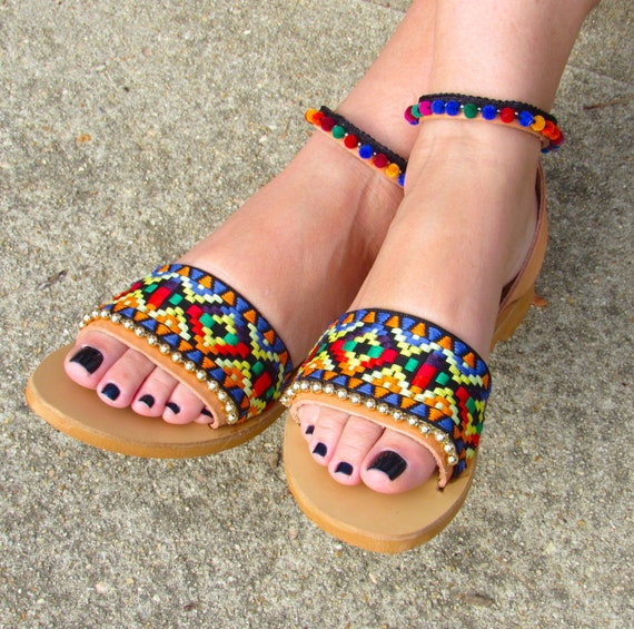 4aeba9e32f04ca Boho Greek Leather Sandals handmade tribal design with