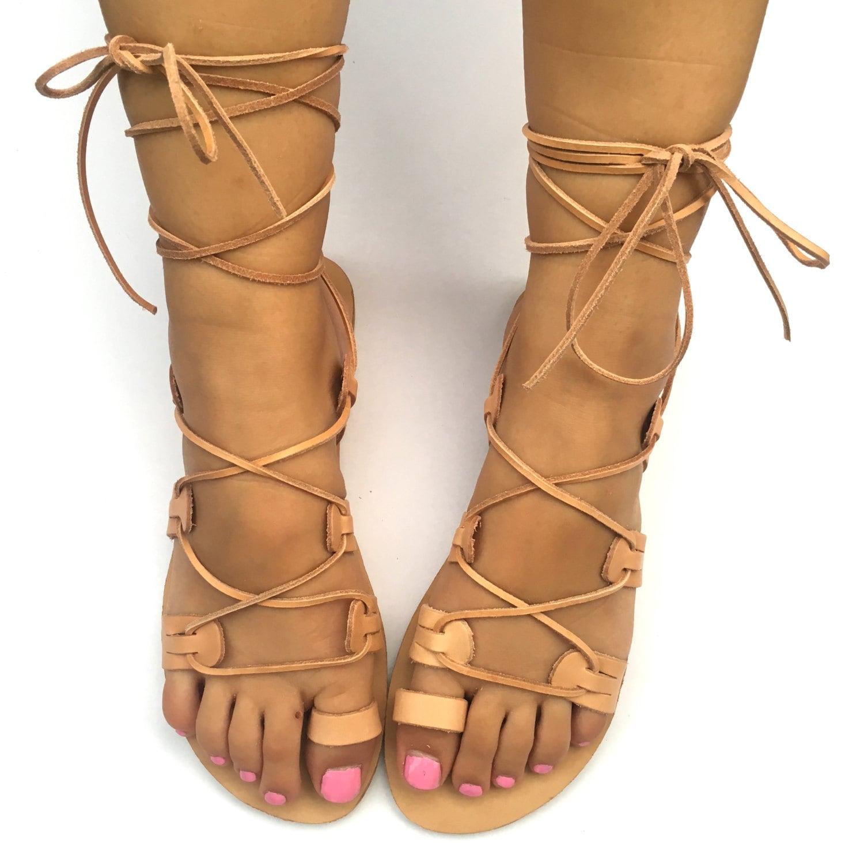 a87b590ba3c Handmade Greek Leather Sandals Gladiator lace up