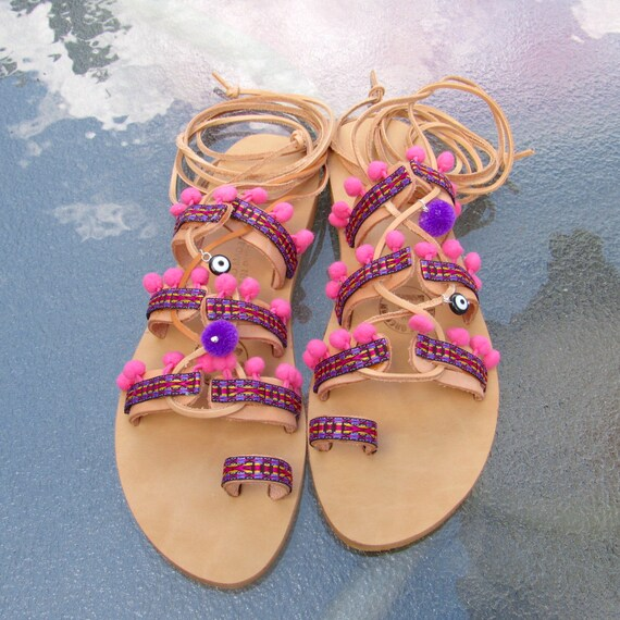 df406bf1f72a49 New Handmade Leather Gladiator Boho Sandals with pink pom pom