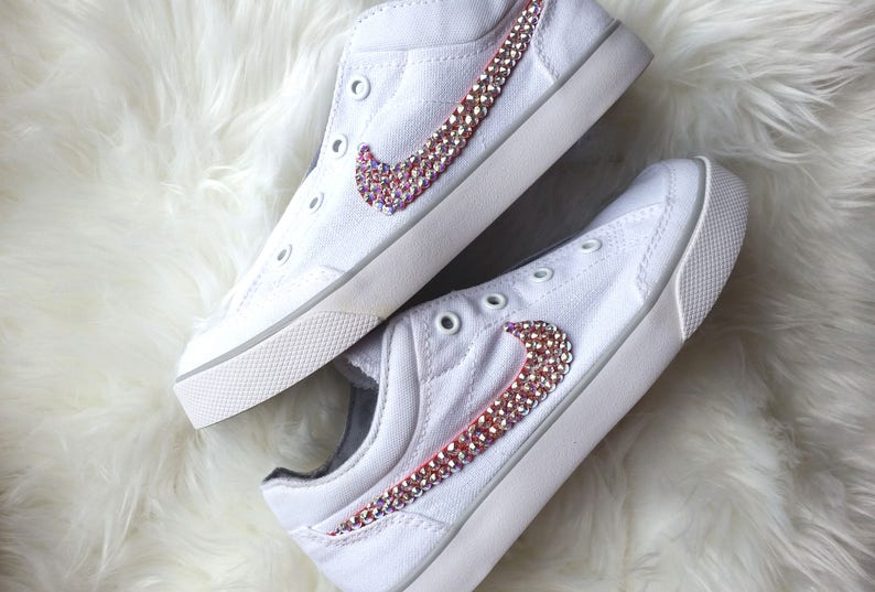 e5bca71a2fc76 SALE Size EU32-ready to ship,Nike Swarovski Trainers, Nike Kids Capri Slip  Junior Trainers, White Nike Rhinestone Shoes,Bling Sneakers