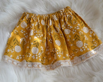 8c6febeaf1 Mustard Yellow Floral Girls Skirt, baby skirt gift birthday party,Baby girl  skirt,laced skirt