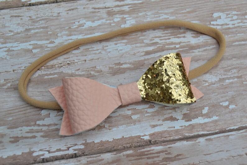 Newborn Headband Gold Birthday Party Pink /&Gold Glitter Headband,Gold  Pink Glitter Hair Bow Baby Shower Gift