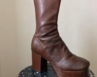 4f84f669988 Vintage 70s brown leather platform ankle boots. Size  7 8 UK
