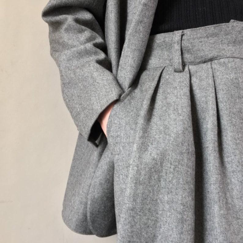 Vintage 80s Ports International grey wool power skirt suit Size:10 UK