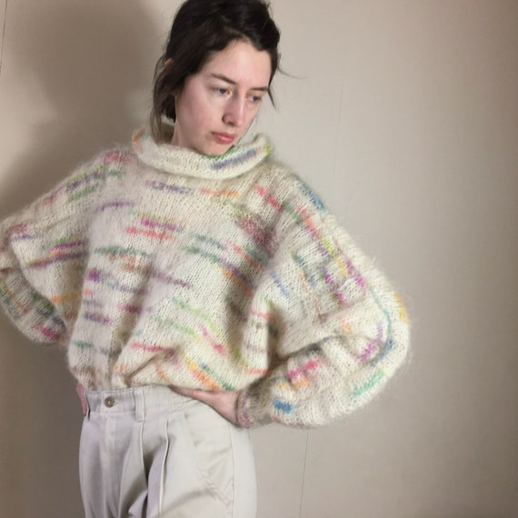 Vintage 80s cropped oversized batwing mohair jumpe