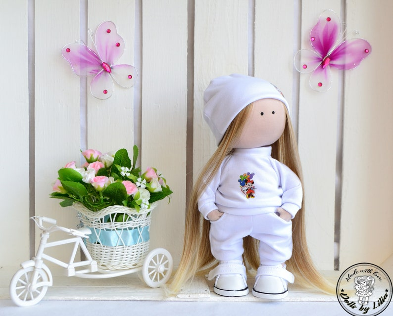 Set textile doll with set of clothes Tilda doll cat Fabric art image 0