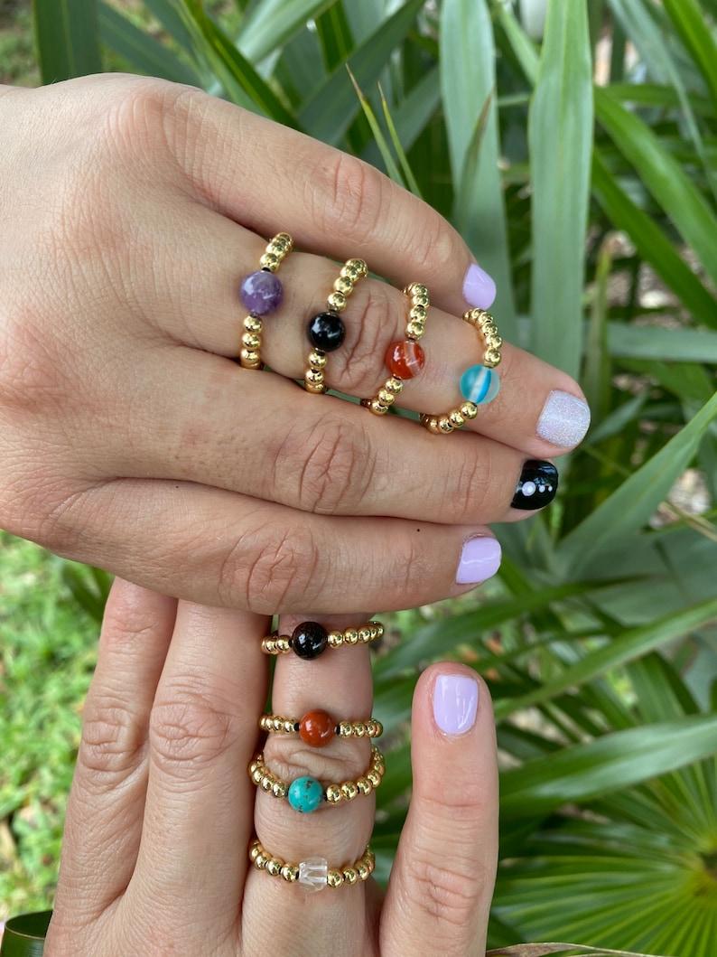 Beaded 18K Gold Filled Ring \u2022 Gemstones Ring \u2022 Beaded Rings \u2022 Healing Jewelry \u2022 Rings \u2022 Yoga Jewelry \u2022 Handmade Jewelry \u2022