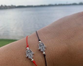Protection Hamsa Bracelet - Pewter Hand Of Fatima - Protection - Adjustable Bracelet- Handmade -Red String - Black String .