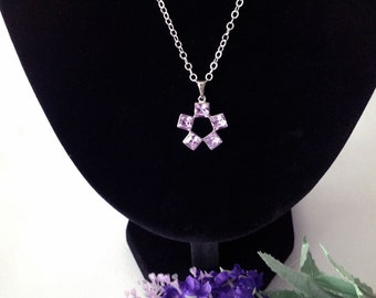20.5 Inch Sterling Silver Necklace with Lilac Cubic Zirconia Pendant