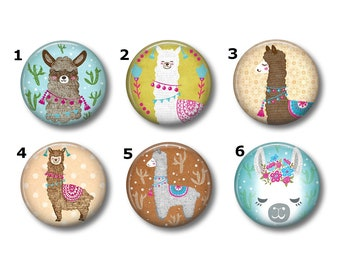 e812015cc44c7 Llama Art magnets or pins - Choose your own set of 6!, Llama buttons,  refrigerator magnets, fridge magnets, office magnets