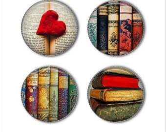 Book magnets or pins, book buttons, reading, novels, love to read, hardcover books, refrigerator magnets, fridge magnets, office magnets