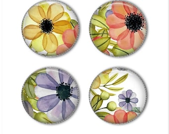 Watercolor flower magnets or watercolor flower pins, refrigerator magnets, fridge magnets, office magnets