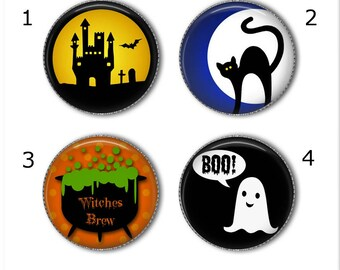 Halloween magnets or pins - Choose your own set of 4!, Halloween buttons, refrigerator magnets, fridge magnets, office magnets