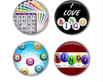 Bingo magnets or pins, Bingo buttons, refrigerator magnets, fridge magnets, office magnets