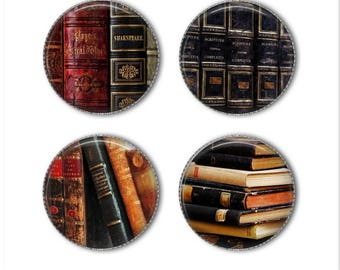 Book magnets or pins, book buttons, reading, novels, love to read, hardcover books, refrigerator magnets, fridge magnets, office magnets 3