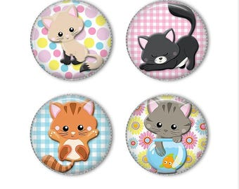 Cute Kitties magnets or pins, kitten cat magnets pins buttons, refrigerator magnets, fridge magnets, office magnets (2)