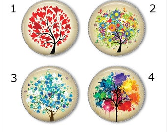 Tree of Life magnets or pins - Choose your own set of 4!, Tree of Life buttons, refrigerator magnets, fridge magnets, office magnets