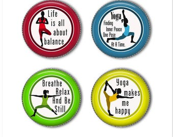 Yoga magnets or yoga pins, meditation, refrigerator magnets, fridge magnets, office magnets