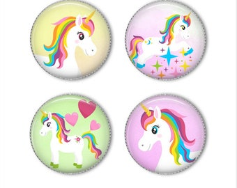Pretty unicorn magnets or unicorn pins, unicorn buttons, refrigerator magnets, fridge magnets, office magnets