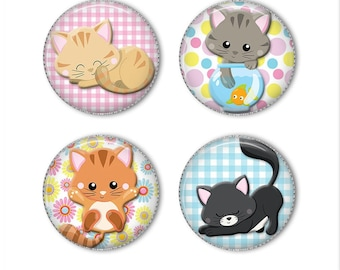 Cute Kitties magnets or pins, kitten cat magnets pins buttons, refrigerator magnets, fridge magnets, office magnets