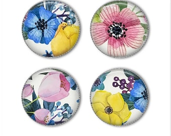Watercolor flower magnets or watercolor flower pins, refrigerator magnets, fridge magnets, office magnets (2)
