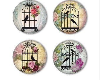 Birdcage magnets or pins, birdcage buttons, vintage shabby chic, refrigerator magnets, fridge magnets, office magnets