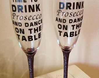 Time to drink prosecco & dance on the table.  Pair of Champagne flute Glitter Glasses