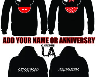 3b551c430c Personalize Mickey and Minnie mouse matching sweaters,matching hoodies,his  and hers,CARTOON, couple hoodies