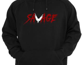 259a95fb5d0af0 BLACK MAVERICK hoodie Logan Paul SAVAGE red black and white