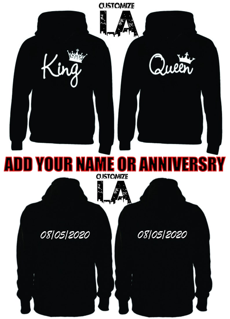 1cca37df75 King and Queen Couple Hoodies | Etsy
