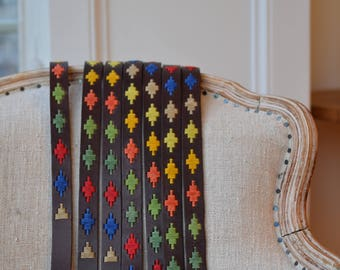 Embroidered steer leather belt, traditional Argentinian belt, gaucho style belt, ideas gift him/her